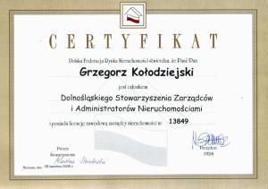 Certyfikat Polska Federacja Rynku Nieruchomości